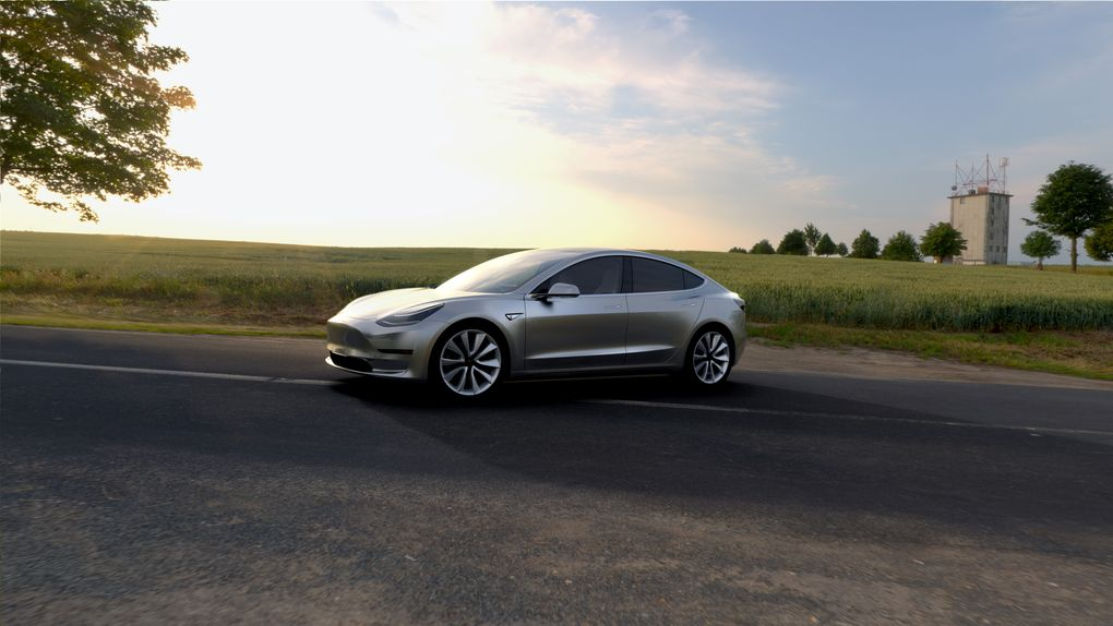 tesla model 3 in silver front side