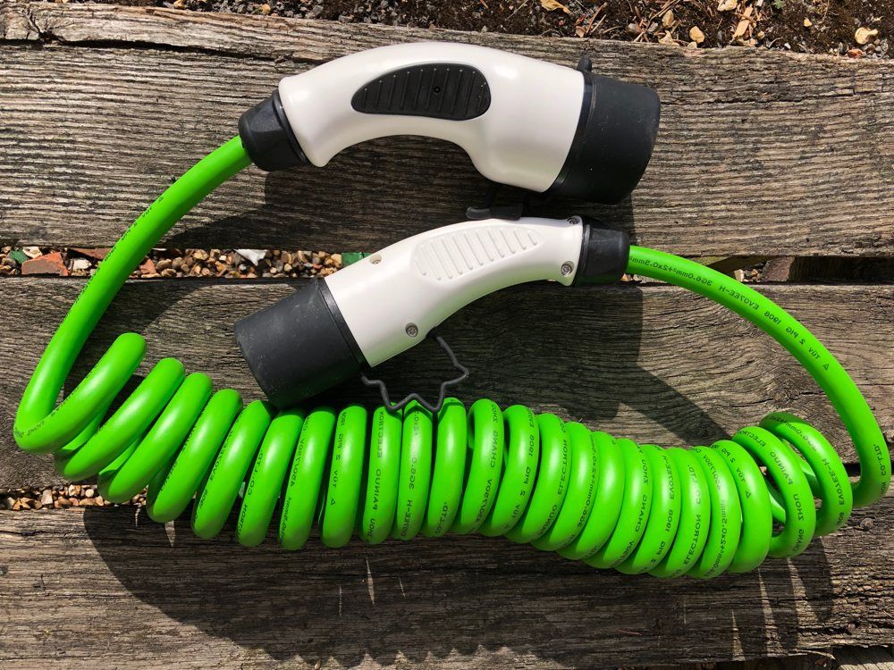 type 2 type 2 spring charging cable 32 amp green ev charging cables. Black Bedroom Furniture Sets. Home Design Ideas