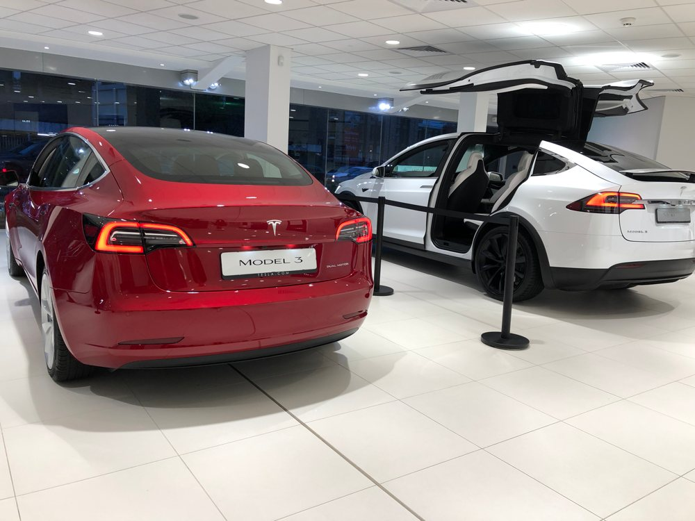 tesla model 3 and x in london