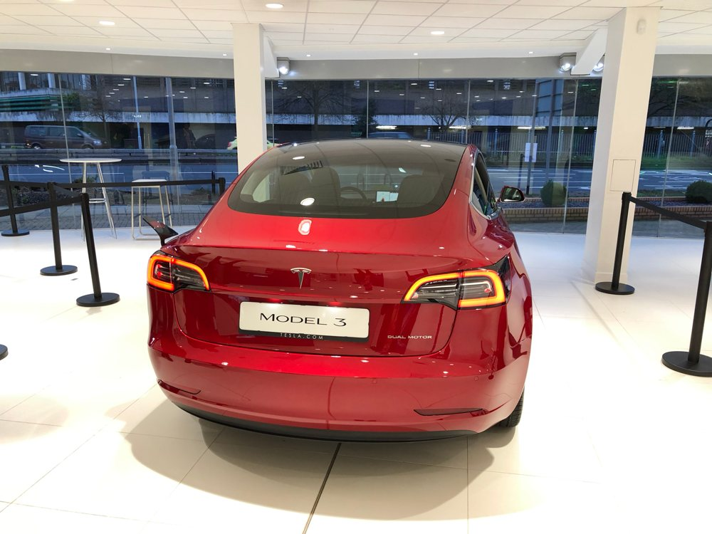 tesla model 3 rear in london showroom